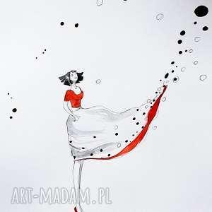 WIATR ZMIAN 2 praca akwarelą i piórkiem artystki plastyka Adriany Laube, kobieta