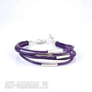 Bransoletka - fioletowa rzemienie, skórzana, metalowe rurki