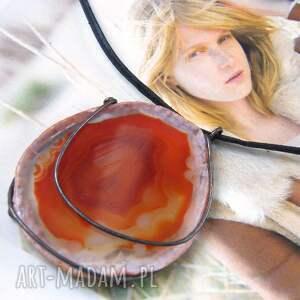 wisiorki wisiorek agat brązowy okrągły, duży wisiorek, kamień