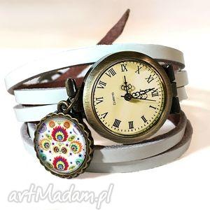 ludowe wzorki - zegarek bransoletka na skórzanym pasku, ludowy folk