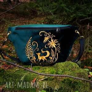 nerka xxl szmaragdowa zieleń i złoto - ,nerka,las,lis,saszetka,torebka,aksamit,