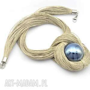 ręcznie robione naszyjniki naszyjnik lniany z szarą ceramiczną kulką