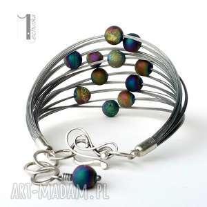planety - srebrna bransoleta z druzami tytanowymi - metaloplastyka, srebro