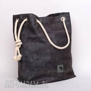 Torebka w kształcie worka, imitacja ciemno szarego dżinsu , dżinsowa, szara,