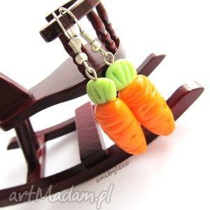KOLCZYKI marchewki, kolczyki, modelina, fimo, marchewka, marchewki