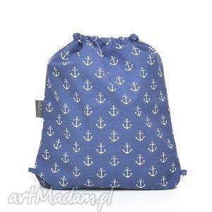 ręcznie zrobione dla dziecka plecak worek przedszkolaka kotwice na granacie