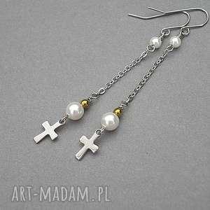 Alloys Collection /cross/ perle 10.07.18 - kolczyki, długie, ki-ka, krzyż, delikatne
