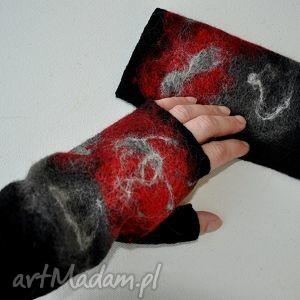 handmade rękawiczki mitenki czerwienie