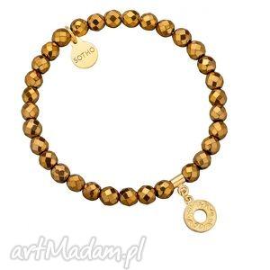 złota bransoletka z fasetowanego hematytu z rozetką sotho, rozeta
