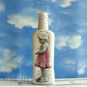 vintage dziewczynka w różowej sukience butelka z kolekcji, dekoracja