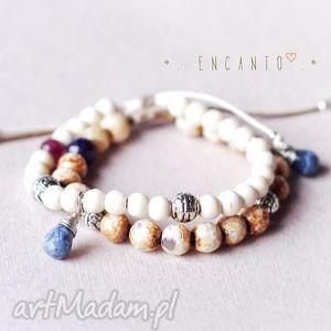bransoletki inca , kamienie, naturalne, howlit, sodalit, jadeit, boho biżuteria