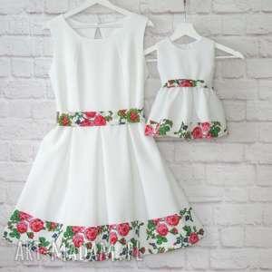 Góralska sukienka dla mamy i córki folk białe, sukienka, mama-córka, komplet,