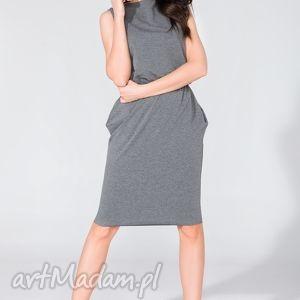 sukienka midi z kieszeniami t132 szary - sukienka, midi, letnia, kieszenie