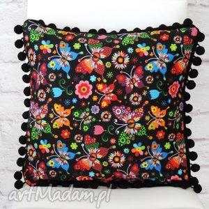 handmade poduszki poduszka z pomponami folk łowicka