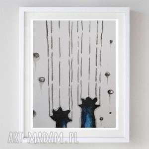 niegrzeczny kot- abstrakcja,akwarela formatu 12,5/18 cm, kot, łapy, akwarela