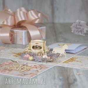 ślub rustykalny exploding box z karetą - na ślub, pudełko, box, expolding, życzenia