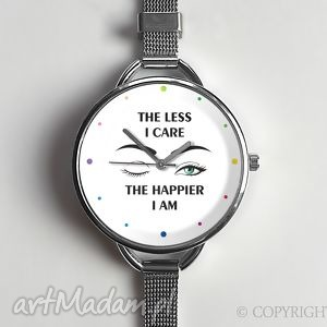 the less i care - zegarek z dużą tarczką 0874ws - zegarek, napisami, sentencje