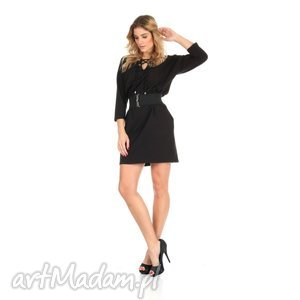 46-sukienka sznurowany dekolt,czarna,rękaw 3 4,pasek , lalu, sukienka, dzianina