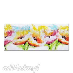 tęczowe kwiaty 2, nowoczesny obraz ręcznie malowany, obraz, ręcznie
