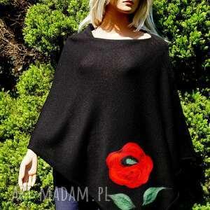 hermina czarne ponczo z wzorem filcowym, bawełniane, letnie