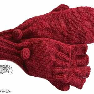 bezpalczatki z klapką 3 - rękawiczki, druty, klapka, mitenki