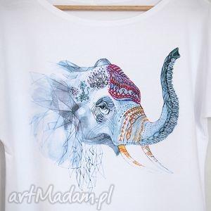słoń koszulka bawełniana l/xl biała, słoń, koszulka, bawełniana, bawełna, biała