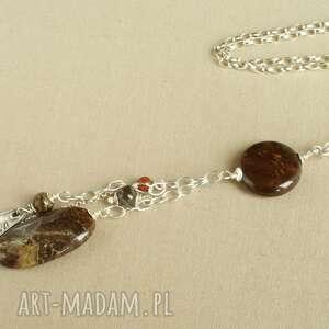 Naszyjnik z jaspisu i srebra, delikatny, oryginalny