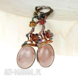 a602 kwarc różowy w kwiatach kolczyki, kolczyki różowe, srebrne, srebrne