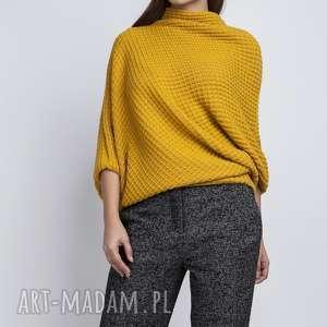 sweter oversize, swe049 żółty mkm, onesize, luźny, szeroki, nietoperz, dzianinowy