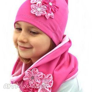 komplet czapka komin dla dziewczynki, kominy, czapki