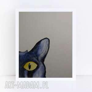 kot-akwarela formatu 18/24 cm, kot, abstrakcja, farby, akwarela, kredki
