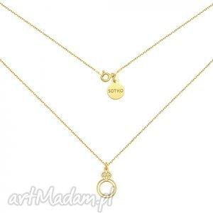 sotho złoty naszyjnik z pierścionkiem, elegancki blogerski, srebro