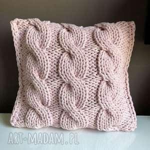 poduszka ze sznurka bawełnianego jasny róż 40x40 cm, poduszka, poszewka, sznurek