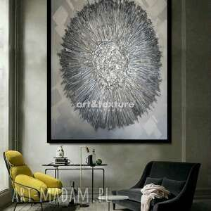 dekoracje metaliczna otchłań - obraz na płótnie, srebrna dekoracja
