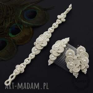 komplet ślubny mirino pearl soutache, sutasz, romantyczny, zestaw, perły