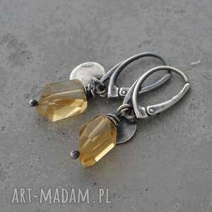 kolczyki z bryłką cytrynu, cytryn, srebro, surowa biżuteria, wiszące