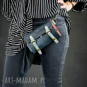 portfele skórzany portfel w kolorze granatowym z miejscem na telefon i długim