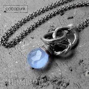 srebro i chalcedon błękitny- nowoczesny naszyjnik, niebieski, codzienny srebrny