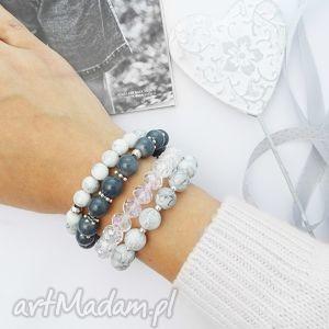 Gray Set - bransoletki, zestaw, handmade, zkoralików, koralikowe
