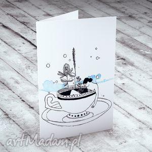 w filiżance karteczka, kartki, okolicznościowe, życzenia, kobiece, urodzinowe