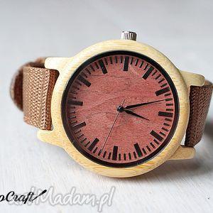 Bambusowy zegarek z ceglastą tarczą, drewniany, zegarek, bambusowy, parciany, lekki