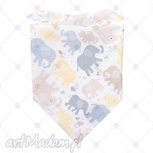 bawełniana chustka na lato - kremowe słoniki, chustka