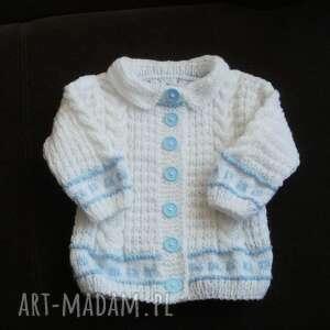 sweterek biały żakiecik, rękodzieło, sweterek, na drutach, rozpinany, niemowlę
