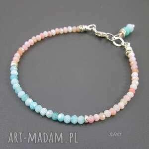 bransoletki delikatna z amazonitu i opalu, opal, amazonit