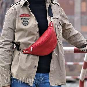 czerwona skórzana nerka, nerka, torebka duża przez ramię