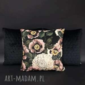 komplet 3 poduszek welur czerń i różowe maki 45x45cm, poduszek, zestaw