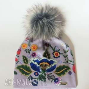 handmade czapki czapka beanie pompon z futra