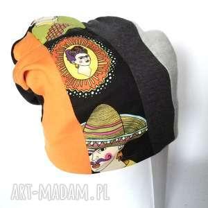 czapka dzianinowa smerfetka frida kahlo, frida, smerfetka, dresowa, patchwork,
