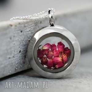 naszyjniki 925 mini srebrny łańcuszek wrzos, kwiaty, natura, biżuteria
