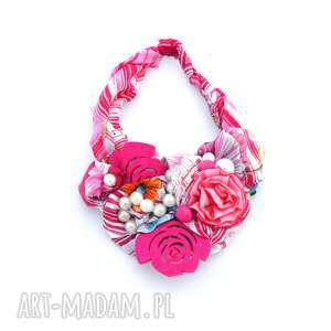 kwiaty we włosach naszyjnik handmade, naszyjnik, kolia, kolorowy, kwiaty, róż, fuksja